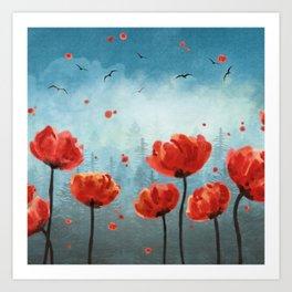 Poppy flowers - Misty Forest Art Print