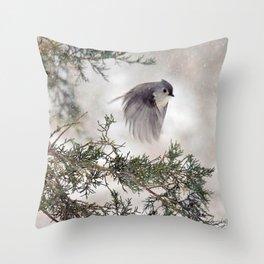 Fly-away Tufted Titmouse Throw Pillow