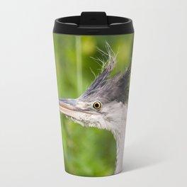 Young orphaned Ardea cinerea the grey heron Travel Mug
