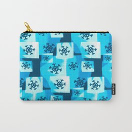 Blue Snowflakes Carry-All Pouch