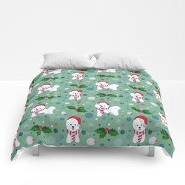 Bichon Frise dog Christmas pattern Comforters