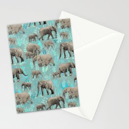 Sweet Elephants in Soft Teal Stationery Cards
