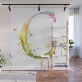Letter C watercolor - Watercolor Monogram - Watercolor typography - Floral lettering Wall Mural