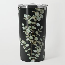 Baby Blue Eucalyptus Watercolor Painting on Charcoal Travel Mug