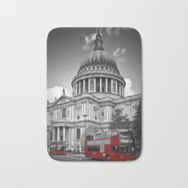 LONDON St. Paul's Cathedral & Red Bus Bath Mat