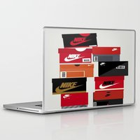 sneaker Laptop & iPad Skins featuring SNEAKER HEAD RED by RickART