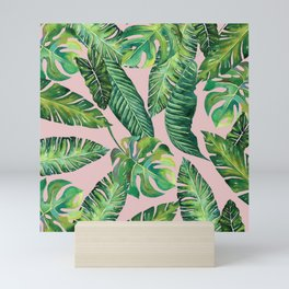 Jungle Leaves, Banana, Monstera Pink #society6 Mini Art Print