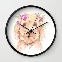 golden doodle watercolor Wall Clock