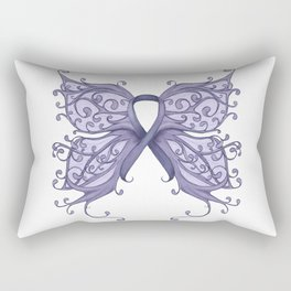Periwinkle Cancer Ribbon with Butterfly Wings Rectangular Pillow