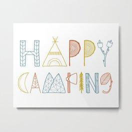 Happy Camping Fall Metal Print