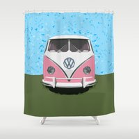 vw bus Shower Curtains featuring The Pink  VW Love Bus of Peace  by BruceStanfieldArtist illustrator