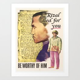 Vintage poster - Rizal died for you Art Print