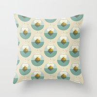 sailboat Throw Pillows featuring Sailboat by FLATOWL