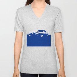 Pontiac Firebird, Blue on Cream Unisex V-Neck