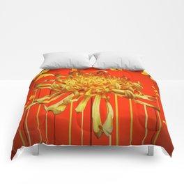 SURREAL YELLOW SPIDER MUM & BUTTERFLIES ORANGE ART Comforters