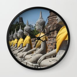 Row of Buddha statues, Ayutthaya, Thailand Wall Clock