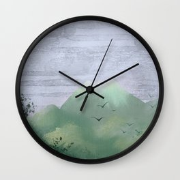 Volcano in the jungle Wall Clock