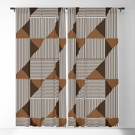 Coffee Brown Geometric Shapes Blackout Curtain