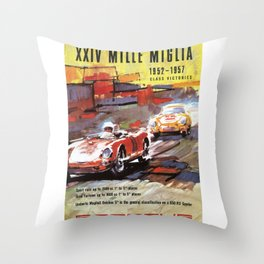 Mille Miglia, Race Poster, Vintage Poster, car poster Throw Pillow