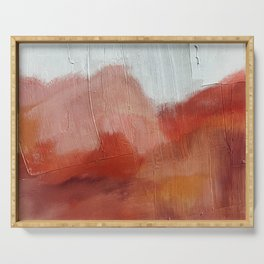Desert Journey [2]: a textured, abstract piece in pinks, reds, and white by Alyssa Hamilton Art Serving Tray