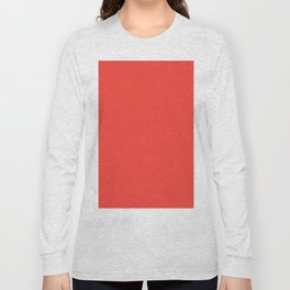 Red Orange Solid Color Long Sleeve T-shirt