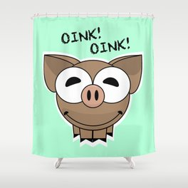 Pig Oink Piggy Pink animal framed poster art mug Shower Curtain