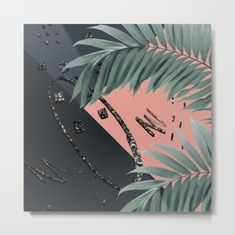 Night Palms Cali Vibes Abstract Glitter Glam #3 #tropical #decor #art #society6 Metal Print