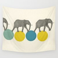 elephants Wall Tapestries featuring Travelling Elephants by Cassia Beck
