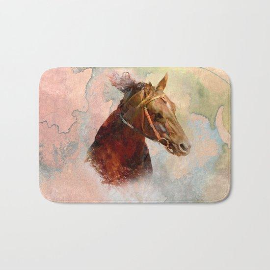 Horse in Water Color Splash Bath Mat