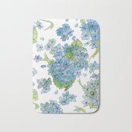Blue Hydrangea Watercolor Bath Mat