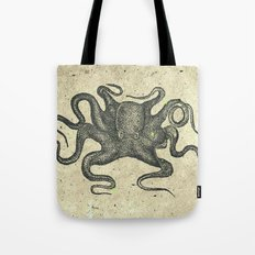 Black Brown Vintage Nautical Steampunk Octopus Tote Bag