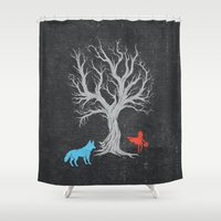 red riding hood Shower Curtains featuring Little Red Riding Hood  by Kawaiaki