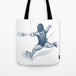 Fencer. Print for t-shirt. Vector engraving illustration. Tote Bag