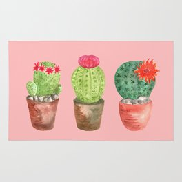 Three Cacti watercolor pink Rug