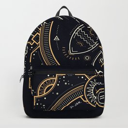 Aquarius Zodiac Golden White on Black Background Backpack
