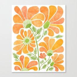Happy California Poppies / hand drawn flowers Leinwanddruck
