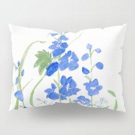 Blue Larkspur Watercolor Garden Flower Delicate Painting Pillow Sham
