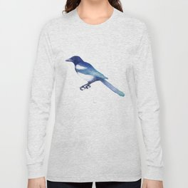 Magpie (Pica pica) - blue and turquoise Long Sleeve T-shirt