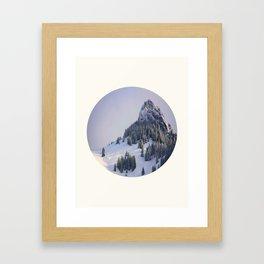 Mid Century Modern Round Circle Photo Winter Pine Trees Ski Mountain Peak Framed Art Print