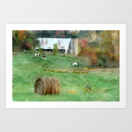 Barnyard Cows Art Print