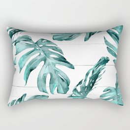 Turquoise Palm Leaves on White Wood Rectangular Pillow