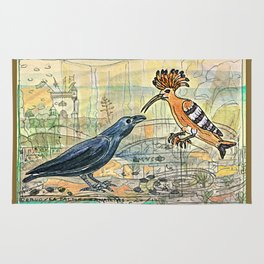 The Crow and the Hoopoe Rug