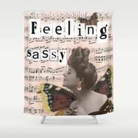 sassy Shower Curtains featuring Feeling sassy by CreativePink