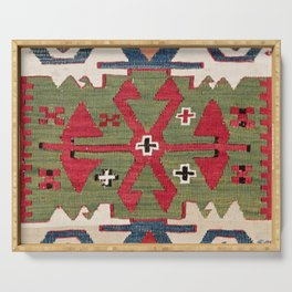 Red Diamond Arrow Konya // 19th Century Authentic Colorful Blue Green Cowboy Accent Pattern Serving Tray