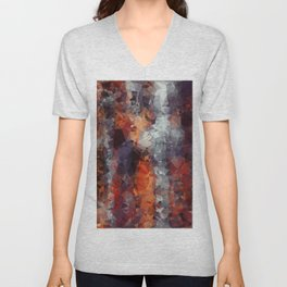 psychedelic geometric polygon shape pattern abstract in orange brown red black Unisex V-Neck