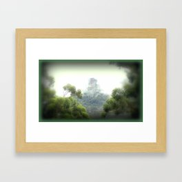 Between the trees, fog Settles! Framed Art Print