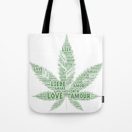 Cannabis Leaf illustrated with Love Word of different languages Tote Bag