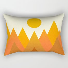 Modern Warming Abstract Geometric Mountains Landscape with Rising Sun in Hot Autumnal Ochre Colors Rectangular Pillow