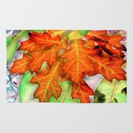 Orange Oak Leaf Cluster - Inverted Art Rug