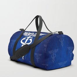 Caduceus medical symbol with two snakes sword and wings Duffle Bag